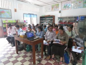 Teachers from Kessararam Primary School participate in a training session as part of the Helmets for Families program.