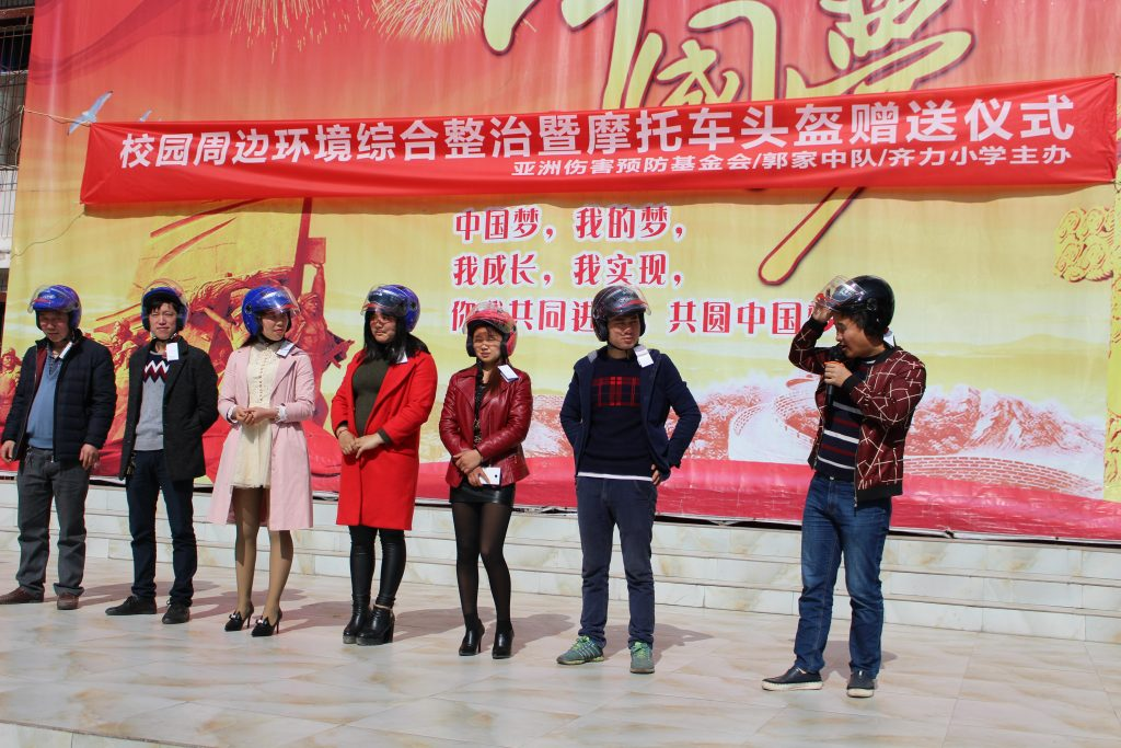 Motorcycle Helmet Demonstration Parents Walk Wise Kaizhou District China