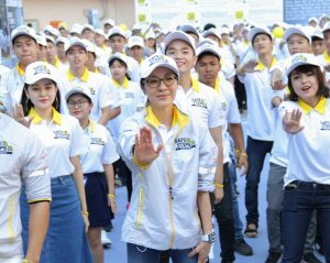 Michelle Yeoh dances with students at Safe Steps Road Safety campaign launch.