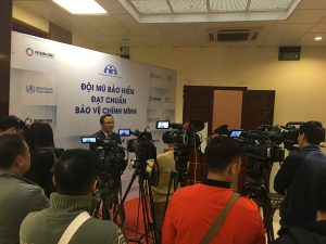 Dr Khuat Viet Hung, the current Vice Chairman of the NTSC speaks with press at the review conference of Vietnam's national helmet law.