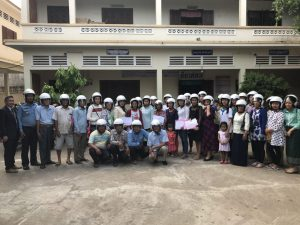 In commemoration of International Women's Day, 40 mothers participated in a helmet use forum at Veal Vong Primary School in Cambodia.
