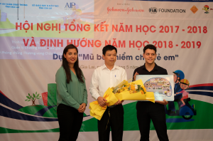 (From left) FIA Foundation representative Monalisa Adhikari; Nguyen Huu Que, former Director of Gia Lai Department of Transportation; and Alexander Wheeler of AIP Foundation join the Helmets for Kids review workshop.