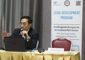 LDP member Pol Maj Gen Pongson Kongtreekaew, professor at the Royal Police Cadet Academy, lecturing at the Effective Enforcement through Strengthening Road Safety Legislation workshop.