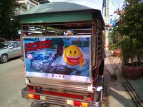 One of 80 tuk tuks bearing Safety Delivered's anti-distracted driving messaging.
