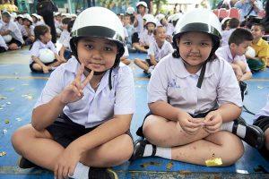 Students at theSafe School, Safe Communitykick-off ceremony at Wat Rachasingkorn School.